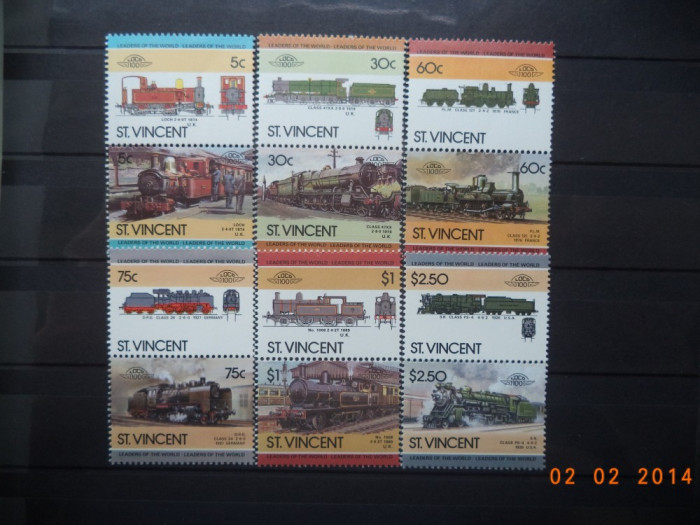 1985  St.Vincent Mi 832 - 843   Trenuri, locomotive**  Serie completa. foto mare