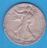 (2) MONEDA DIN ARGINT SUA - HALF DOLLAR 1940, LIT. S, WALKING LIBERTY