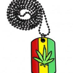 Pandantiv Medalion Lantisor Frunza Marijuana - Pandantiv fashion