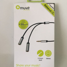 MUVIT Splitter stereo jack 3.5mm / 30cm / (76) - Cablu