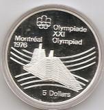 Canada 5 Dolari 1976 - Olympic village, Argint 24.3g/925, Proff KM-109 UNC !!!, America de Nord