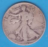 (1) MONEDA DIN ARGINT SUA - HALF DOLLAR 1939, LIT. S, WALKING LIBERTY, America de Nord