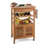 Klarstein Louisiana bucătărie cărucior Carucior 4 etaje Bamboo - Detector metale