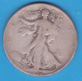 (1) MONEDA DIN ARGINT SUA - HALF DOLLAR 1937, LIT. D, WALKING LIBERTY, America de Nord