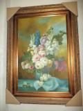 Ulei pe panza o lucrare superba incadrata intr-o rama in stilul Baroc, Flori, Realism