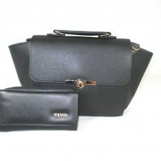 Set dama geanta si portofel negre piele ecologica+CADOU - Geanta Dama, Culoare: Din imagine, Marime: Medie