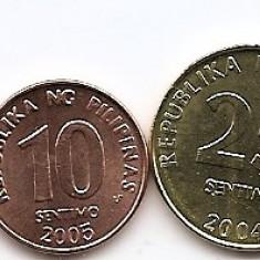 Filipine Set 5 - 1, 5, 10, 25 Sentimos 1 Piso 2002/05 - UNC, Asia
