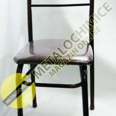 Scaun fix metalic cu spatar pentru bucatarie, tapitat cu piele ecologica - Scaun bucatarie, Maro