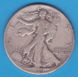 (2) MONEDA DIN ARGINT SUA - HALF DOLLAR 1939, FARA LITERA, WALKING LIBERTY