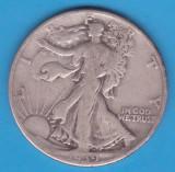 (2) MONEDA DIN ARGINT SUA - HALF DOLLAR 1939, FARA LITERA, WALKING LIBERTY, America de Nord