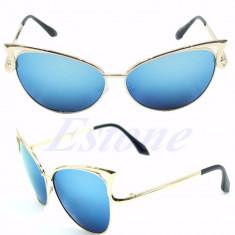 Ochelari de soare dama cat eye brate metalice rame ochelari albastru oglinda, Femei