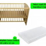 Patut copii fara sertar Karolina II Natur + Saltea 12cm - Patut lemn pentru bebelusi Klups