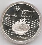 Canada 5 Dolari 1976 - Olympic Flame, Argint 24.3g/925, Proff KM-110 UNC !!!, America de Nord