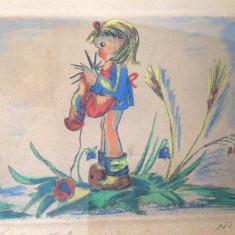 Tablou Acuarela vintage - Tablou autor neidentificat, Nonfigurativ, Altul