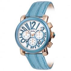 Ceas New Pocket Dama Chronograf  Turquoise , Elegant, piele naturala, garantie
