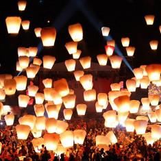 Lampioane zburatoare multicolore - set 10 bucati
