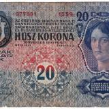 20 Coroane Korona Kronen, Transilvania, Ungaria, Austria, supratipar Romania 1913 - Bancnota romaneasca
