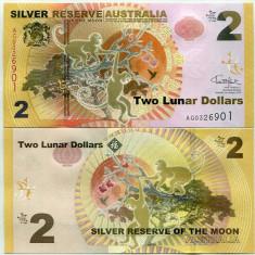 !!! RARR : AUSTRALIA - FANTASY NOTE - 2 DOLARI LUNARI 2016, MAIMUTA - UNC