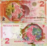 !!! RARR : AUSTRALIA - FANTASY NOTE - 2 DOLARI LUNARI 2015 , CAPRA - UNC