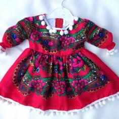Rochie fetite 0-4 ani 90 lei 4-7 ani 100 lei COPII costum popular national, Marime: Alta, Culoare: Rosu