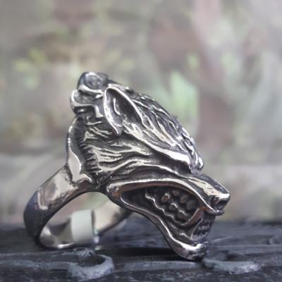 Inel oțel inoxidabil Lup (Marime inele US: 10) foto