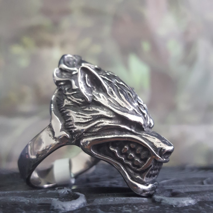 Inel oțel inoxidabil Lup (Marime inele US: 10) foto mare