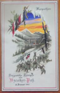 Primul razboi ; Luptele din Carpati , ilustrata embosata , 1915 , impecabila