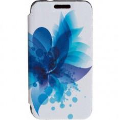 Husa Flip Cover Tellur Folio pentru Samsung J1 (2016) Blue Flower - Husa Telefon Tellur, Piele Ecologica, Cu clapeta