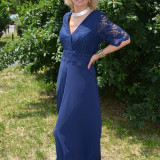 Rochie de seara lunga, nuanta bleumarin, din voal si dantela (Culoare: BLEUMARIN, Marime: 50)