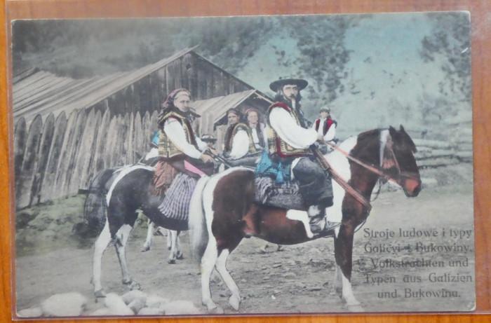 Hutuli din Bucovina , ilustrata color editata de austrieci la inceputul sec. 20 foto mare