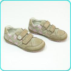 DE CALITATE → Pantofi sport din piele, comozi, practici, BAMA → fete | nr. 32 - Pantofi copii, Culoare: Bej, Piele naturala