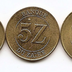 Zair Set 3 - 1, 5, 10 Zaires 1987/88 - UNC !!!, Africa
