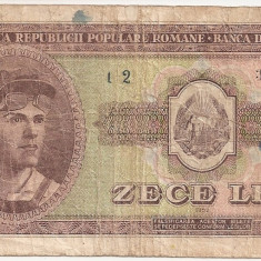 ROMANIA 10 LEI 1952 F DESCENTRAT - Bancnota romaneasca