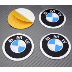 4 Embleme / Logo / Insigne Pentru BMW 60mm - Alb Cu Albastru - Pentru Roti - Embleme auto