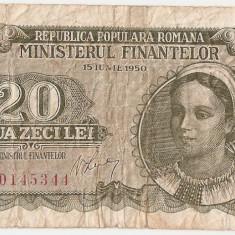 ROMANIA 20 LEI 1950 F - Bancnota romaneasca
