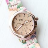 NOU Ceas de dama multicolor elegant curea imprimeu floral auriu roz verde GENEVA, Fashion, Quartz, Metal necunoscut