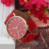 NOU Ceas dama rosu elegant cadran auriu curea matlasata piele GENEVA PLATINUM, Fashion, Quartz