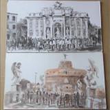 2 lucrari vechi, semnate - Pictor roman, Peisaje, Acuarela, Altul