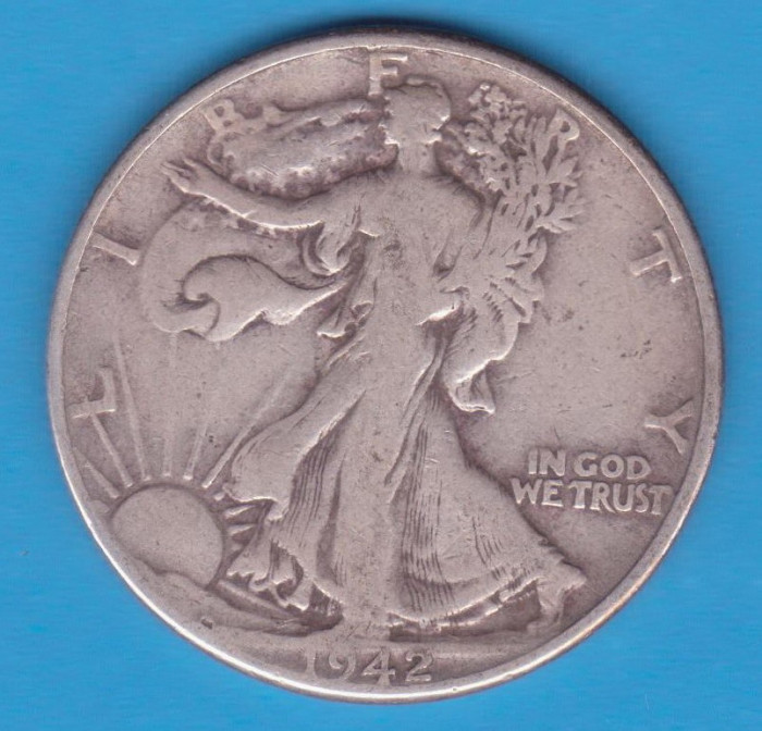 (1) MONEDA DIN ARGINT SUA - HALF DOLLAR 1942, FARA LITERA, WALKING LIBERTY