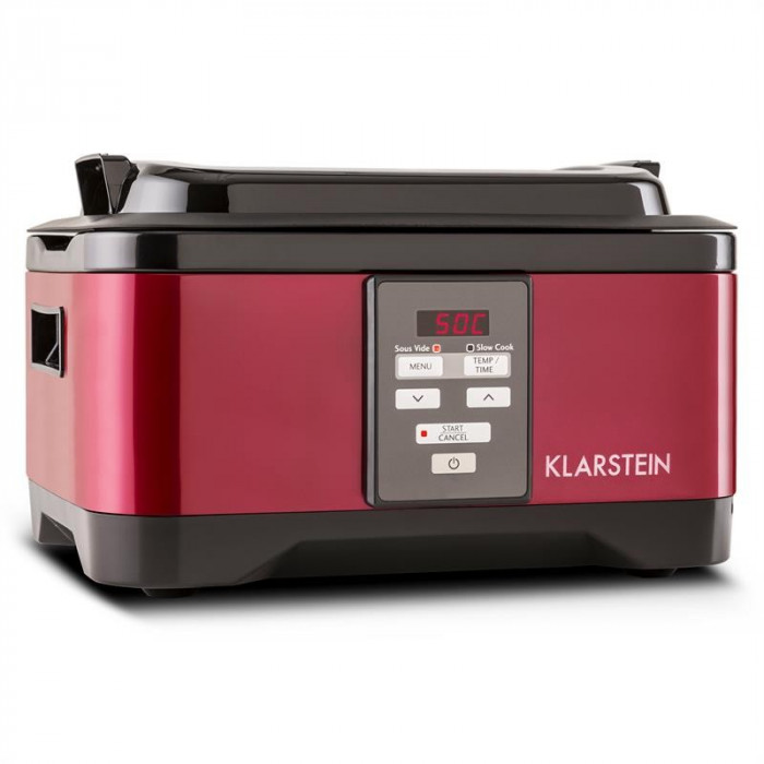Klarstein Tastemaker Sous-Vide Garer, 550 W, 6 l, vas lent, oțel inoxidabil, roșu foto mare