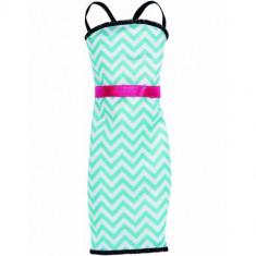 Fashions Dress - Rochita Barbie Stil Teal Stripe - Papusa Mattel