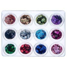 Set nail art, 12 buc - flori cu gaura foto mare