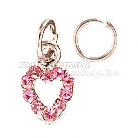 Inimă Argintie cu Strasuri Roz- Piercing pentru unghii foto mare