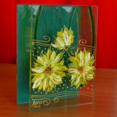 Suport pentru pensule sau creioane din sticla confectionat si pictat manual #286