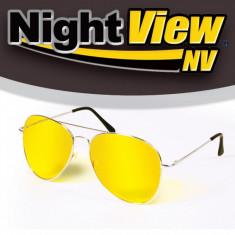 Ochelari Stil Pilot de Condus Noaptea si pe Ceata cu Protectie UV, Unisex, Galben, Metal, Protectie UV 100%