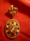 Decoratie - Coroana ,Raze multicolore ,Stema SKG 1947, metal si email, h=6,7cm