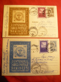 2 Carti Postale Ilustrate cu 30 Bani marca fixa si Vigneta , circ. cu Centenarul