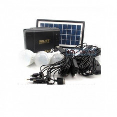 PANOU SOLAR FOTOVOLTAIC,KIT COMPLET 3 BECURI,INCARCARE GSM,RADIO,USB,GD LITE8006