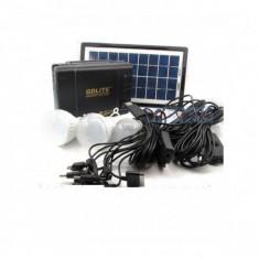PANOU SOLAR FOTOVOLTAIC, KIT COMPLET 3 BECURI, INCARCARE GSM, RADIO, USB, GD LITE8006