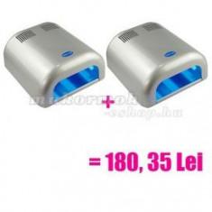 2 x Lampă UV cu 4 becuri, argintie - preț special - Lampa uv unghii